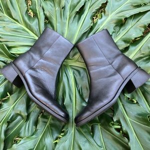 Vintage Chunky Heeled Black Leather Ankle Boots